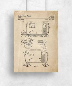 Plakat z patentem na przyczepę do salonu