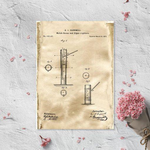 Plakat z patentem na pudełko zapałek do salonu