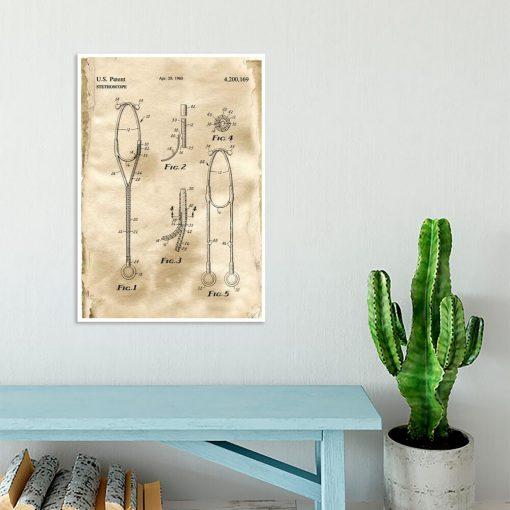 Plakat z patentem na stetoskop do biura