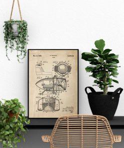 Plakat z patentem na syrenę alarmową do biura