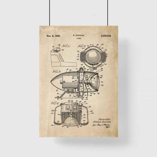 Plakat z patentem na syrenę alarmową do przedpokoju