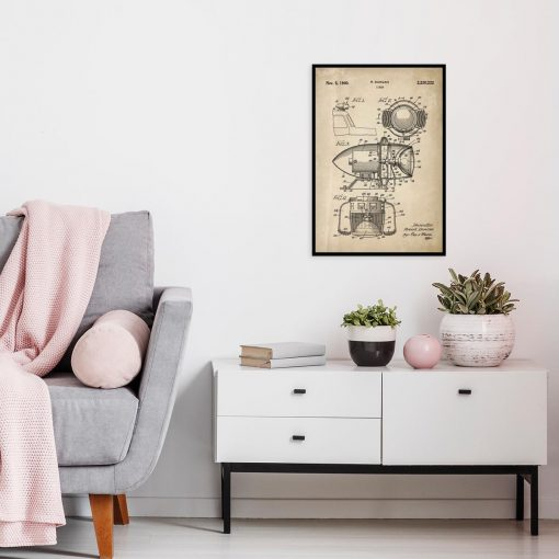 Plakat z patentem na syrenę alarmową do salonu
