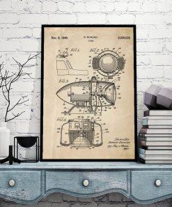Plakat z patentem na syrenę alarmową do sypialni