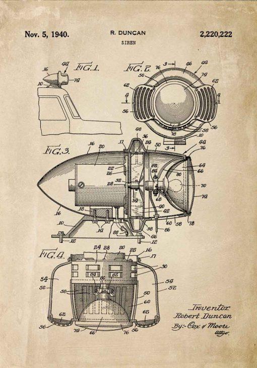 Plakat z patentem na syrenę alarmową