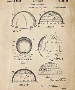 Plakat z patentem na urządzenie do obserwacji gwiazd