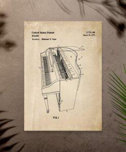 Plakat z pianinem - klawiszowy instrument