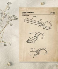 Plakat z projektem gałkownicy do lodów - patent z 1979r.