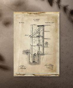 Plakat z projektem na budowę wyjścia pożarowego