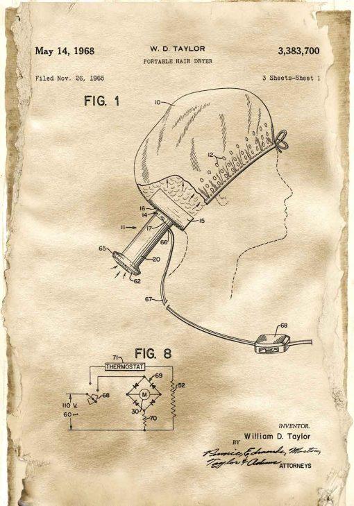 Plakat z przenośną suszarką do włosów