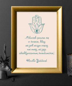 Plakat z ręką Miriam i słowami Goddarda