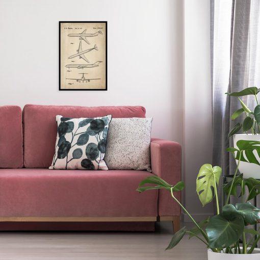Plakat z rysunkiem opisowym samolotu do salonu
