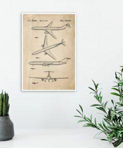 Plakat z rysunkiem opisowym samolotu do sypialni