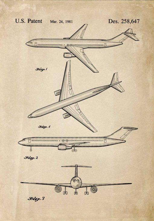 Plakat z rysunkiem opisowym samolotu
