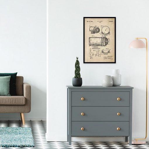 Plakat z rysunkiem opisowym syreny alarmowej do gabinetu