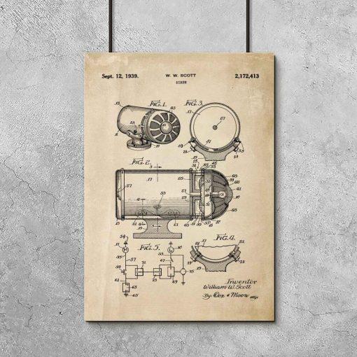 Plakat z rysunkiem opisowym syreny alarmowej do garażu