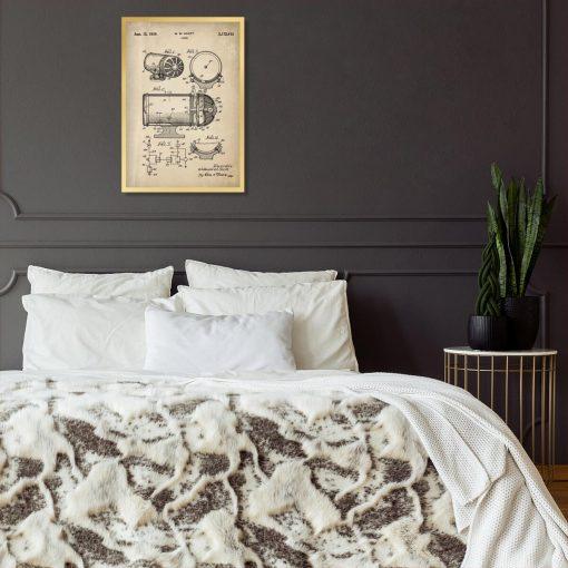 Plakat z rysunkiem opisowym syreny alarmowej do sypialni