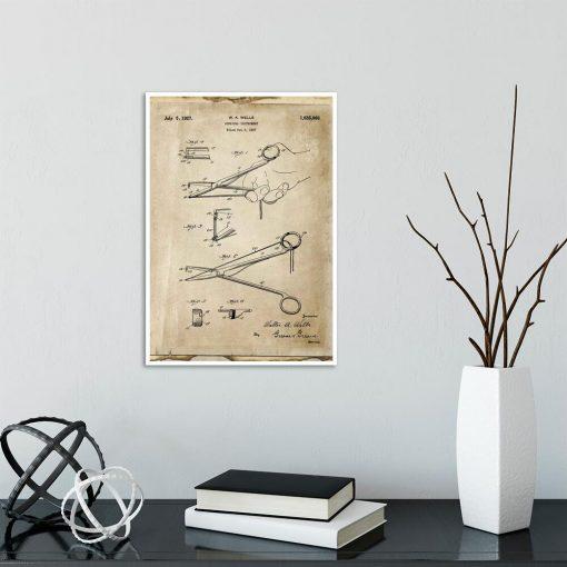 Plakat z rysunkiem patentowym - Imadełko chirurgiczne do szkoły