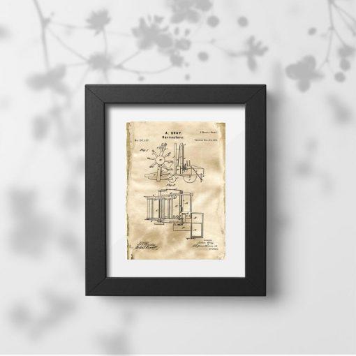Plakat z rysunkiem patentowym na budowę kombajnu