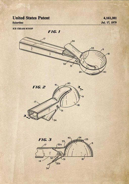 Plakat z rysunkiem patentowym na gałkownicę rok 1979