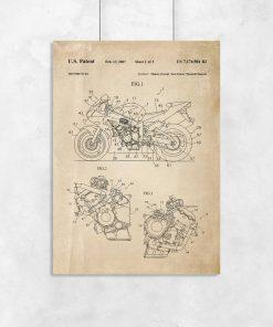 Plakat z rysunkiem patentowym na motocykl