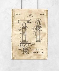 Plakat z rysunkiem patentowym otoskopu laryngologicznego dla lekarza