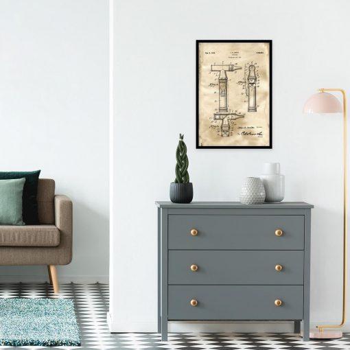 Plakat z rysunkiem patentowym otoskopu laryngologicznego do salonu