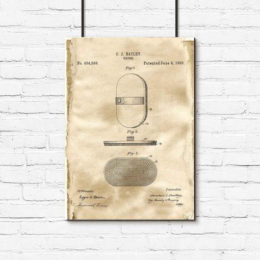 Plakat z rysunkiem patentowym - Szczotka do włosów do salonu fryzjerskiego