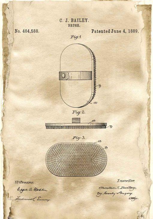 Plakat z rysunkiem patentowym - Szczotka do włosów
