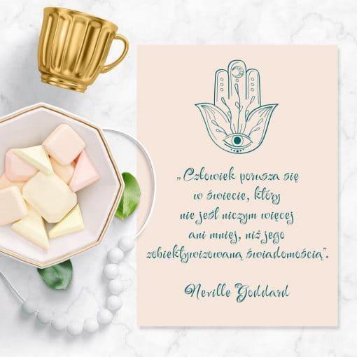 Plakat z symbolem amuletu i słowami Goddarda