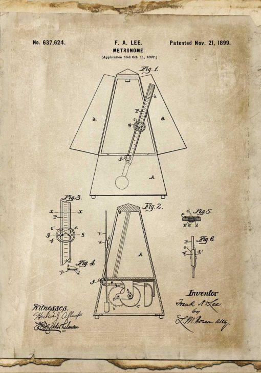 Plakat z taktomierzem - patent z 1899r. do powieszenia w szkole