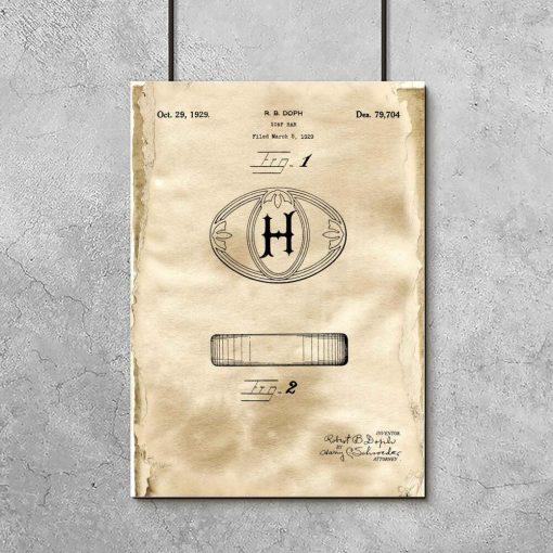 Poster do łazienki z rysunkiem patentowym na mydło w kostce