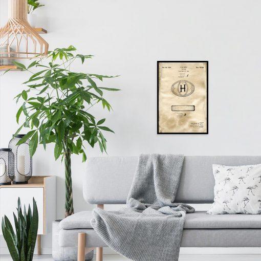 Poster do pokoju z rysunkiem patentowym na mydło w kostce