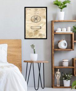 Poster do sypialni z rysunkiem patentowym na mydło w kostce