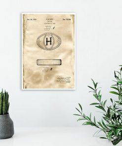 Poster do toalety z rysunkiem patentowym na mydło w kostce