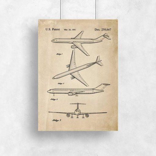 Poster z rysunkiem opisowym samolotu dla chłopca