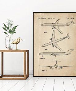 Poster z rysunkiem opisowym samolotu do biura