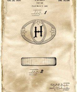 Poster z rysunkiem patentowym na mydło w kostce
