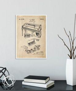 Poster z rysunkiem patentowym - Pianino do gabinetu