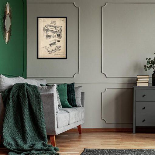 Poster z rysunkiem patentowym - Pianino do salonu