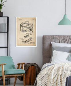 Poster z rysunkiem patentowym -Pianino do sypialni