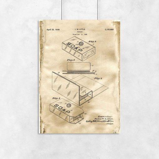 Pudełko na mydło - Plakat z patentem do łazienki