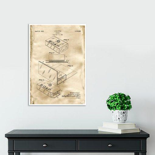 Pudełko na mydło - Plakat z patentem do przedpokoju