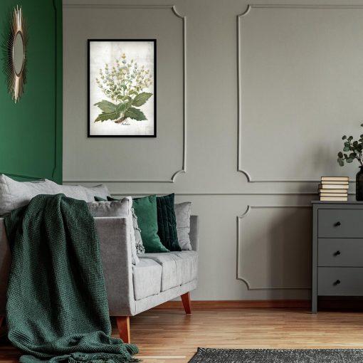 Zielarski plakat edukacyjny z szałwią do sypialni