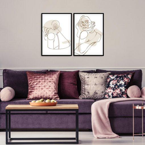2 plakaty one color do dekoracji salonu