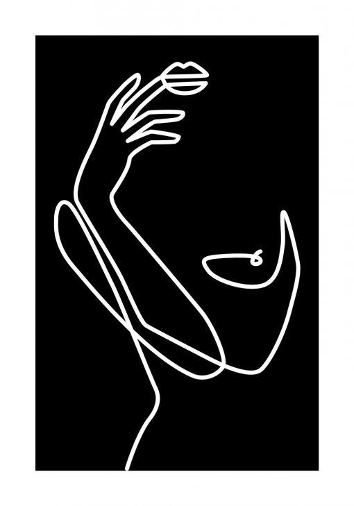 Czarno-biały plakat z kobietą - szkic