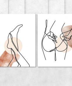 Dwa plakaty kobiece ciało bez ramy