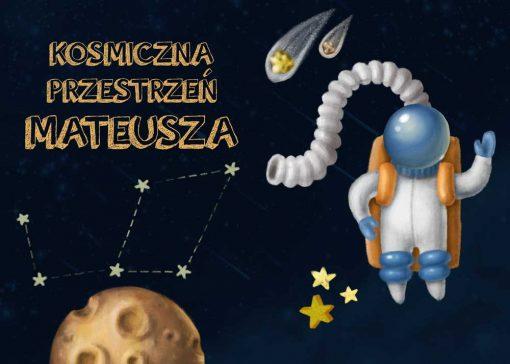 Dwa plakaty z astronautą i imieniem