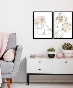 Dyptyk plakatowy one color z postacią kobiety line art