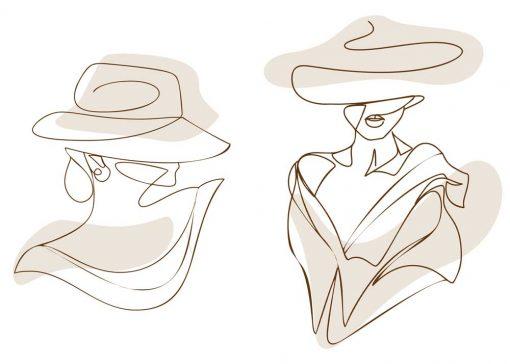 Dyptyk plakatowy z kobietą w kapeluszu one color