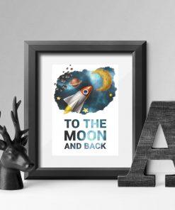 Dziecinny plakat z rakietą